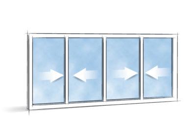 Picto Coulissant 4 vantaux 2 rails