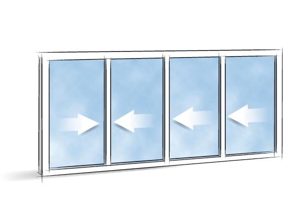 Picto Coulissant 4 vantaux 4 rails