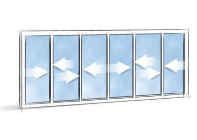 Picto Coulissant 6 vantaux 3 rails