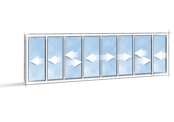 Picto Coulissant 8 vantaux 4 rails