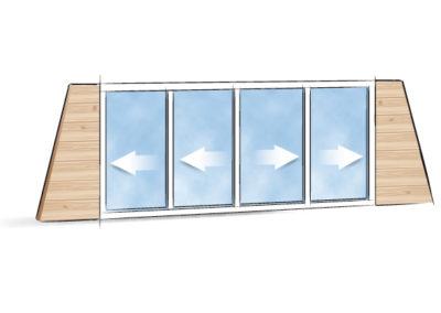Picto Galandage 4 vantaux 2 rails